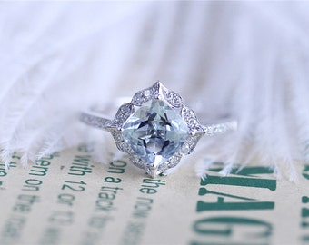 14k White Gold 7mm Cushion Cut Aquamarine Ring Solid Aquamarine Engagement Ring  Diamonds Engagement Wedding Ring