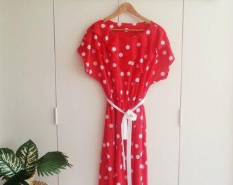 SALE - Vintage Dress - Retro Fashion - Vintage Clothing - 80s - 80s Fashion - Red Dress