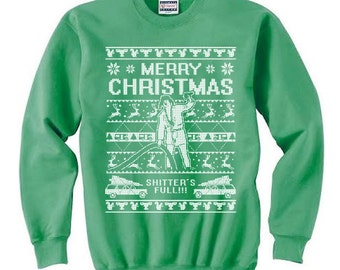 967722bc40d ugly christmas sweater cousin eddie crewneck sweatshirt holiday movie quote  apparel