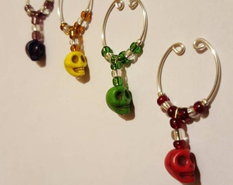 Wine Glass Charms Set of 4 Skulls