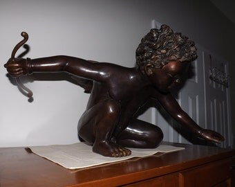 Rare and Beautiful Bronze Sculpture of Cupid Cherub--The Perfect Love Gift-- By Artist Nishan Toor