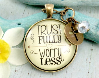Trust Fully Worry Less Vintage Pendant Necklace For Women Do Not Worry Bible Verse Scripture Jewelry be Happy Pray More Worry Less