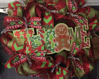Christmas Wreath with Gingerbread Welcome Sign!