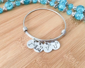 Geeky Jewelry - Science Jewelry - Geeky Gift - Periodic Table Bracelet Bangle - Chemistry Jewelry - Funny Gift for Her - Hand Stamped Bangle