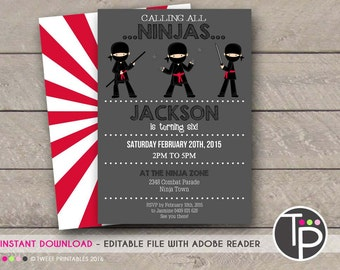 NINJA INVITATION, Instant Download Ninja Party Invitation, NINJA Invitation, Ninja Party, Ninja Printable, Edit yourself with Adobe Reader