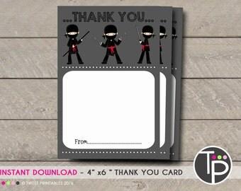 NINJA THANK YOU Card, Instant download Thankyou Card,  Karate Thank you Card, Ninja Thank you Card, Instant Download Ninja Warrior Thank you
