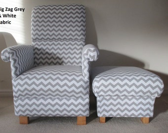 Zig Zag Grey Chevron Fabric Adult Chair & Footstool White Nursery Lounge Kitchen Bedroom Bespoke