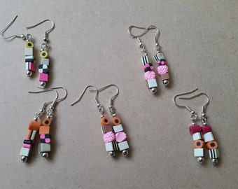 Polymer clay liquorice Allsorts earrings