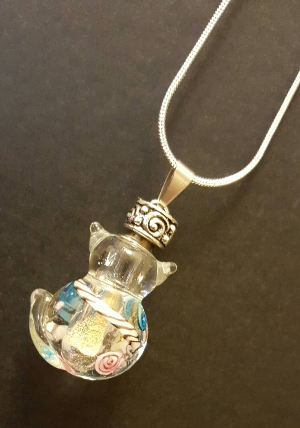 clear glass cat urn cat necklace by thoughtfullkeepsakes