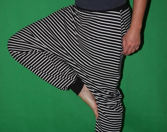 striped Bloomers  Harem Pants Sarouel pants black white striped pants