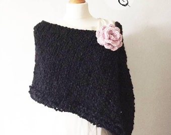 Super soft knitted shoulder stole - black with crochet chunky pink rose, Loop Scarf - Infinity Wrap Shawl, Stole, Bolero,