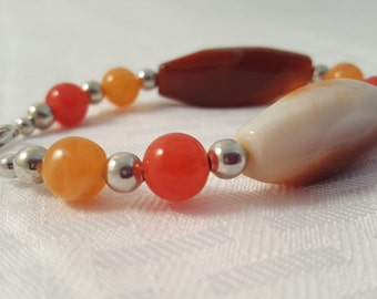 Orange & White Stone Bracelet - Orange Stone Bracelet - Women's Bracelet - Women's Orange Bracelet - Orange Bracelet - Stone Bracelet - Red