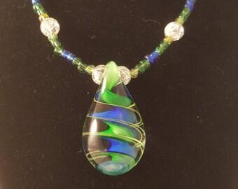 Green & Blue Necklace - Glass Pendant Necklace - Green Necklace - Blue Necklace - Pendant Necklace - Women's Necklace - Tear Drop Necklace