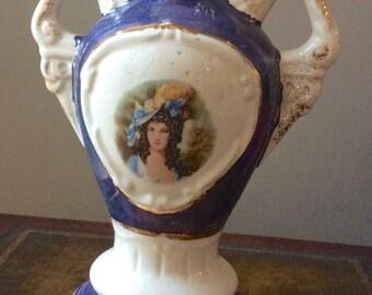 1940s Victorian Lady Lusterware Lamp