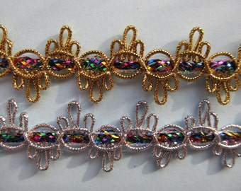 Embroidered Braid SILVER or GOLD 22mm **different colours**
