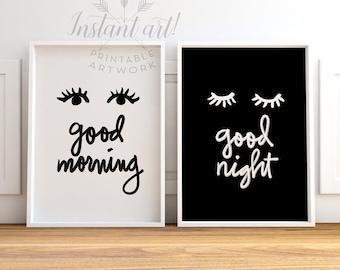 Bedroom wall art, PRINTABLE art, Good morning Good night, Black & white prints, Modern Minimalist, Nursery art, Nursery printables,Quote art