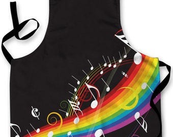 Rainbow Musical Notes Design Apron Kitchen bbq Cooking Painting Made In Yorkshire