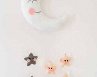 handmade felt moon