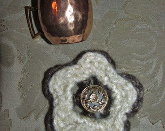 Root Beer Float Crocheted Flower Barrette by Katybecca
