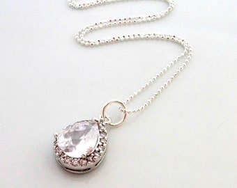 Crystal Teardrop Bridal Pendant On Sterling Silver Diamond Cut Chain Gift For Her