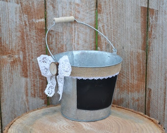 rustic flower girl bucket, country flower girl bucket, rustic wedding bucket, rustic wedding decor, flower girl basket