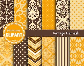 Vintage damask, Wedding pattern, elegant digital paper, digital damask, digital paper set - SE138