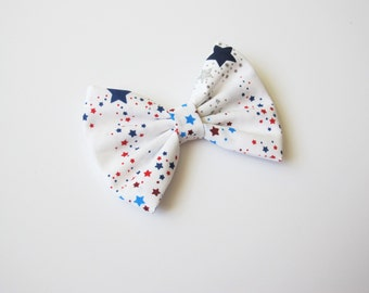 Red White & Blue Stars Hairbow | Silver Stars | 4th of July hair bow | baby bow | little girl hairbow | Choose clip or headband
