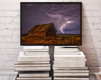 Thunderstorm poster Bolt decor Lightning print