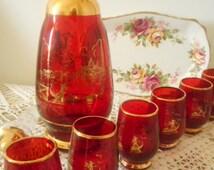 Vintage Glass Decanter Set - Red Gilded Glass