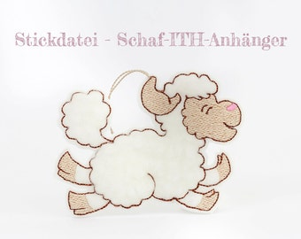 Machine embroidery applique sheep-ITH-trailer