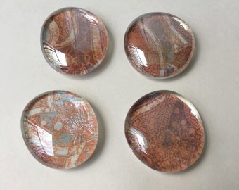 Orange/Blue Flat Marble Magnet Set