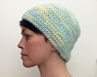 Pastel Knit Adult Hat (Green, Yellow, Blue)