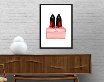 Christian Louboutin Shoes Print Modern Design Poster Louboutin shoes Watercolor decor Fashion Illustration wall art Best price canvas art