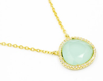 Aqua chalcedony necklace. Aqua stone necklace. Sterling silver aqua chalcedony necklace plated in gold. High quality silver necklace.