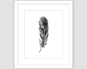 Feather Print, Black and White, Bird, Modern Art, Instant Download, DIY, Printable