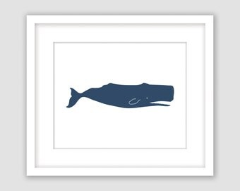 Whale Print, Navy Blue and White, Nautical Wall Art, Horizontal, Beach Decor, Instant Download, DIY, Printable