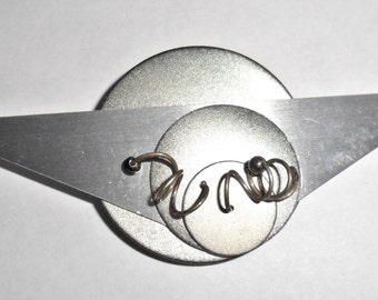 Large unusual vintage abstract modernist style silvertone triangle and circles geometric brooch