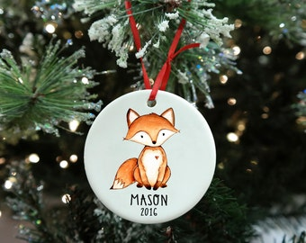 Fox Ornament, Babys First Ornament, Personalized Christmas Ornament