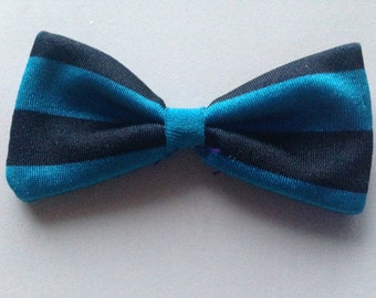Blue and Black Stripe Bow