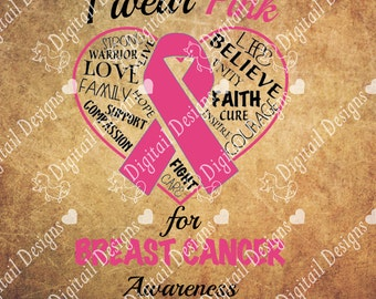 Breast Cancer Awareness Ribbon SVG PNG DXF Eps Fcm Ai Cut file for Silhouette or Cricut. Breast Cancer Design