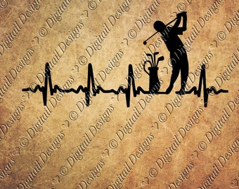 Golf EKG Svg Png Dxf Eps Fcm Ai Cut file for Silhouette, Cricut, Scan n Cut Golfer svg EKG