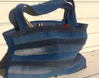 Upcycled Denim Project Bag or Tote for art, yarn, crafts