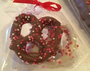 Chocolate Covered Pretzel Twists -Valentine's Day- 2 Dozen