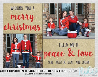 Christmas Photo Card Wishing You a Merry Christmas Card 2 Photos Digital Printable File