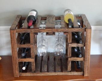Wine Rack; Wine Glass Holder; Wine Bar; Oak Wine Rack;