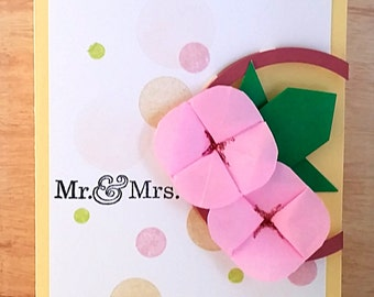 Handmade Origami Flowers Wedding Card