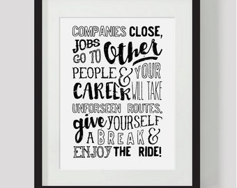 Black and White Inspirational Quote. Instant download. Wall art print. Inspire. New job. Positive quote. Print yourself