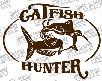 Catfish Hunter Cutfile   SVG   EPS   Vector   DXF   Instant Digital Download   Gifts for him   Mancave   Fishing Decal   Fishing Gifts
