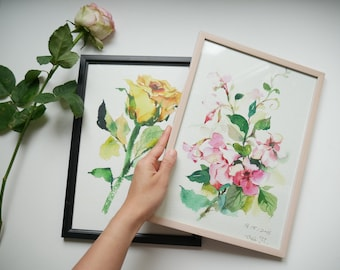 Original floral watercolor painting prints