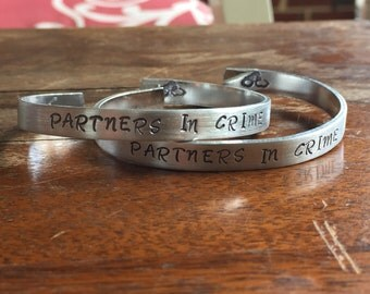 "Partners In Crime - 2-Piece Set | Distressed Cuff Bracelet Personalized Jewelry Hand Stamped 1/2"" Brushed Texture"